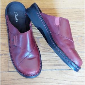 Clark's Red Leather Slide On Mules Clogs